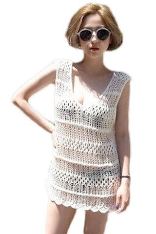 White Crochet Sleeveless Beachwear LAVELIQ