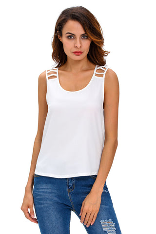White Cut Out Draped Back Clubwear Top LAVELIQ
