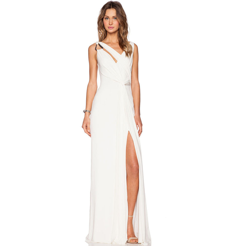 White Draped Gown Sleeveless Jersey Maxi LAVELIQ - LAVELIQ - 1