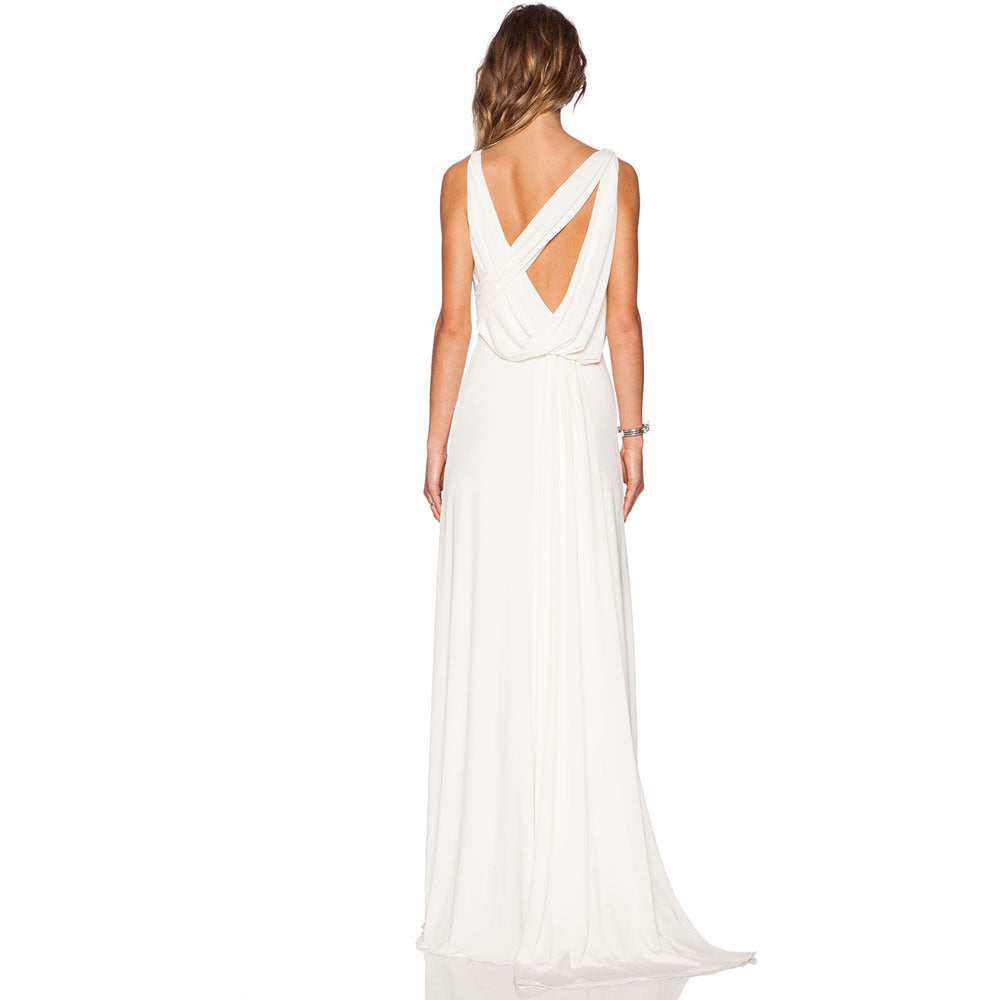 White Draped Gown Sleeveless Jersey Maxi LAVELIQ - LAVELIQ - 2