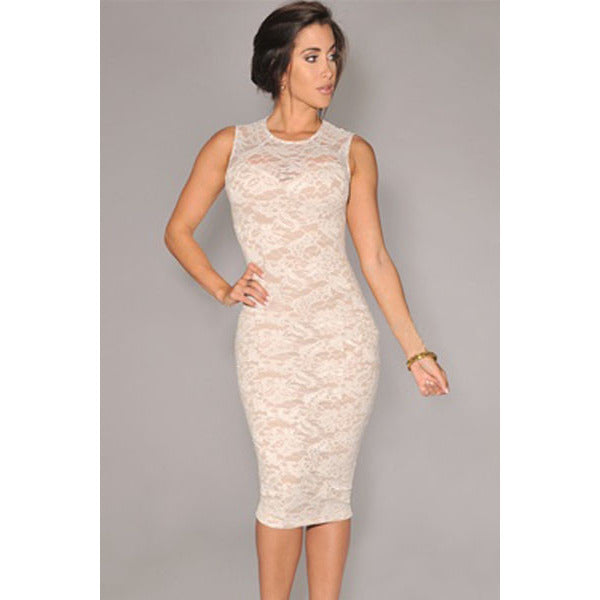 White Lace Knee-Length Dress Sale LAVELIQ - LAVELIQ - 1