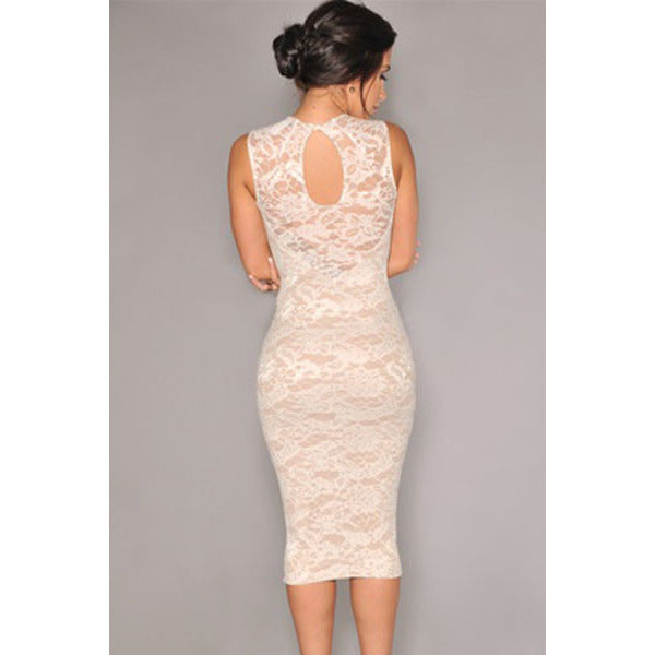 White Lace Knee-Length Dress Sale LAVELIQ - LAVELIQ - 2