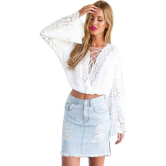 White Flared Sleeves Lace-Up Crop Top LAVELIQ - LAVELIQ - 4