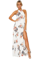 White Floral Cutout Back Halter Split Maxi Boho Dress LAVELIQ