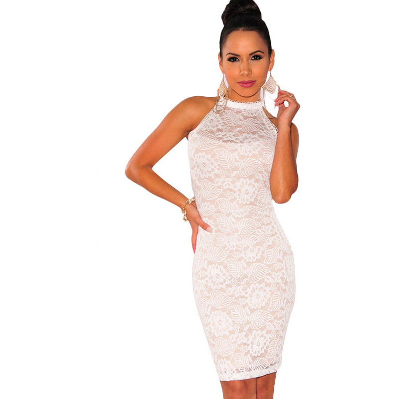 White Floral Lace Double Strap Back Dress Sale LAVELIQ - LAVELIQ - 1