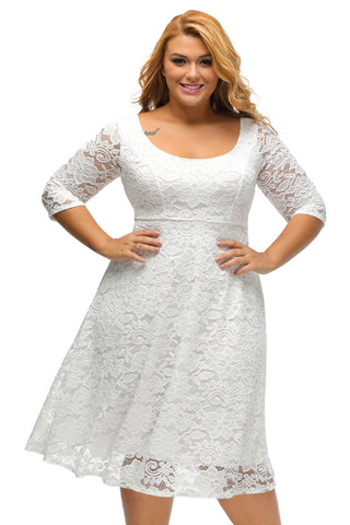 Plus Size White Floral Lace Sleeved Fit And Flare Midi Dress LAVELIQ