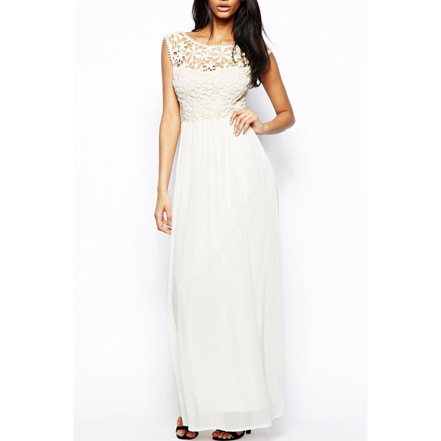 White Floral Lace Top Maxi Dress Sale LAVELIQ - LAVELIQ - 1