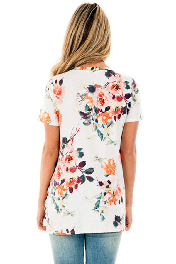 White Floral Short Sleeve Knot Top LAVELIQ