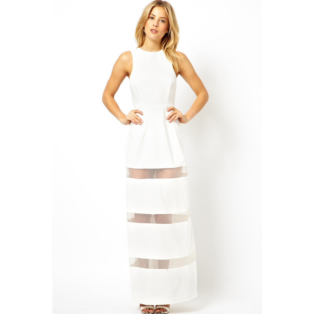 White Graceful Floor-Length Maxi Dress Sale LAVELIQ - LAVELIQ - 1