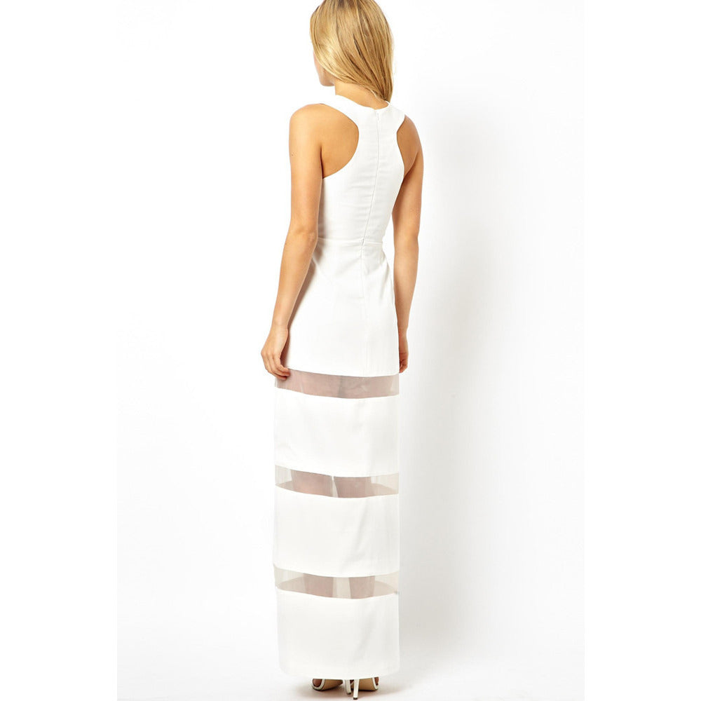White Graceful Floor-Length Maxi Dress Sale LAVELIQ - LAVELIQ - 2