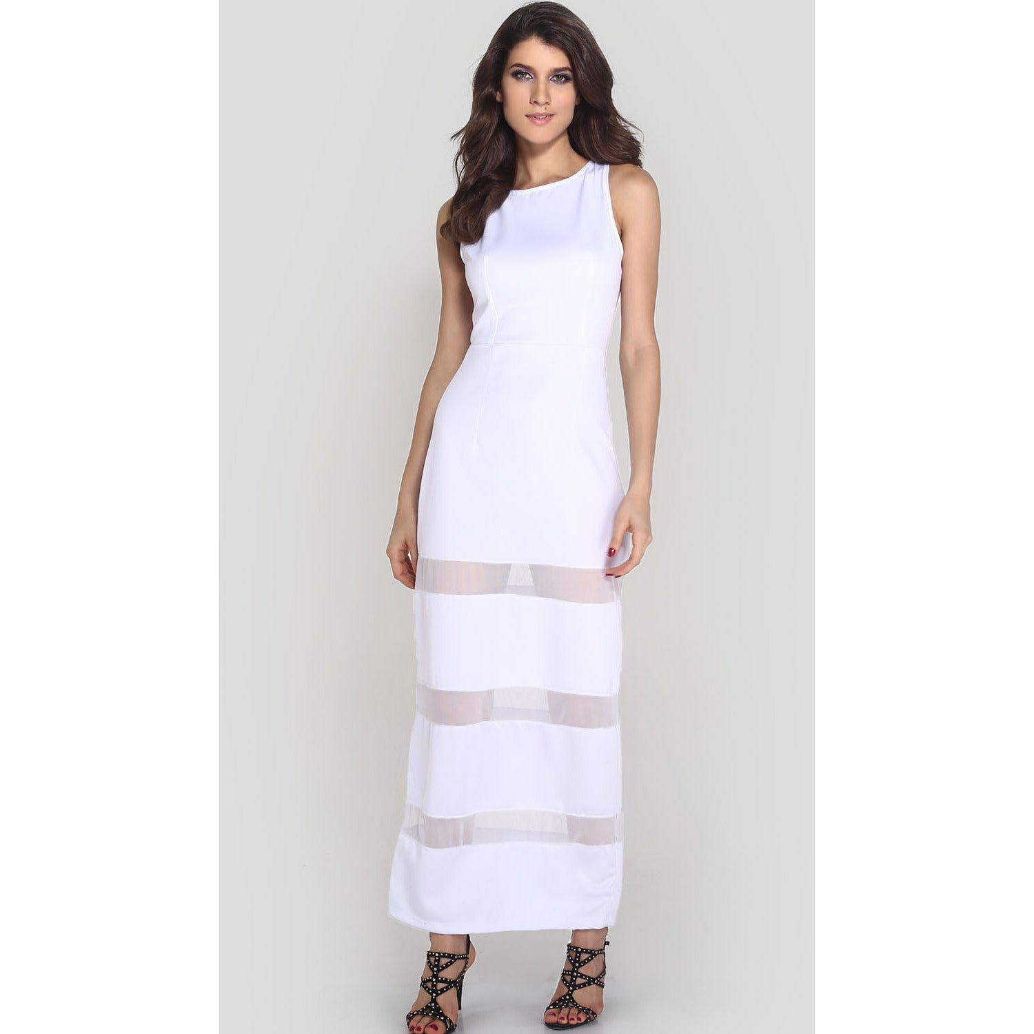 White Graceful Floor-Length Maxi Dress Sale LAVELIQ - LAVELIQ - 3