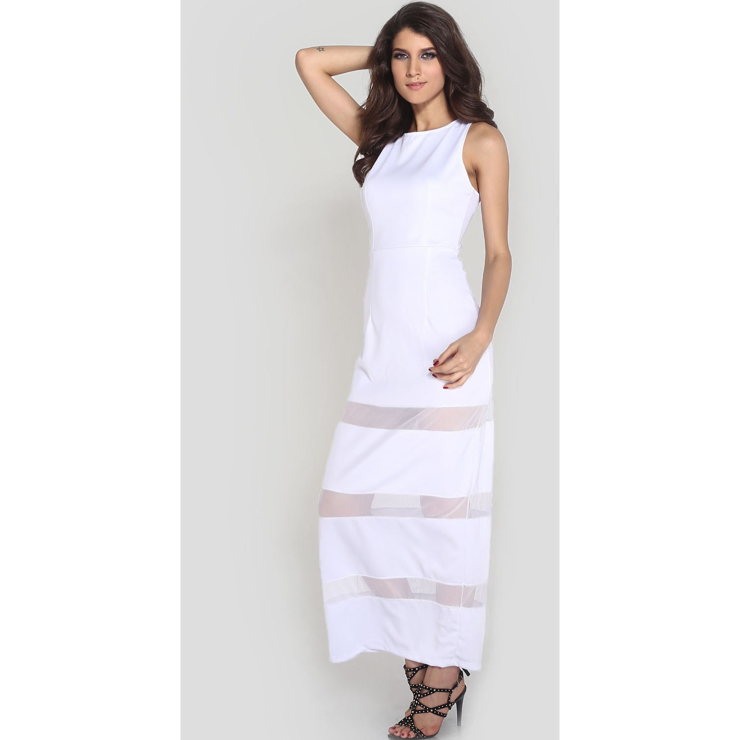White Graceful Floor-Length Maxi Dress Sale LAVELIQ - LAVELIQ - 5