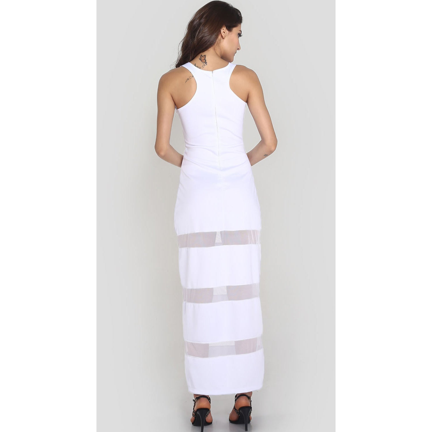 White Graceful Floor-Length Maxi Dress Sale LAVELIQ - LAVELIQ - 6