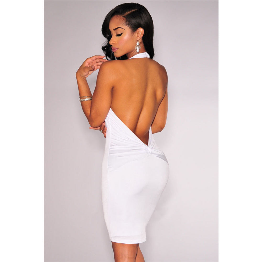 White Knotted Low Back Mini Dress Sale LAVELIQ - LAVELIQ - 2