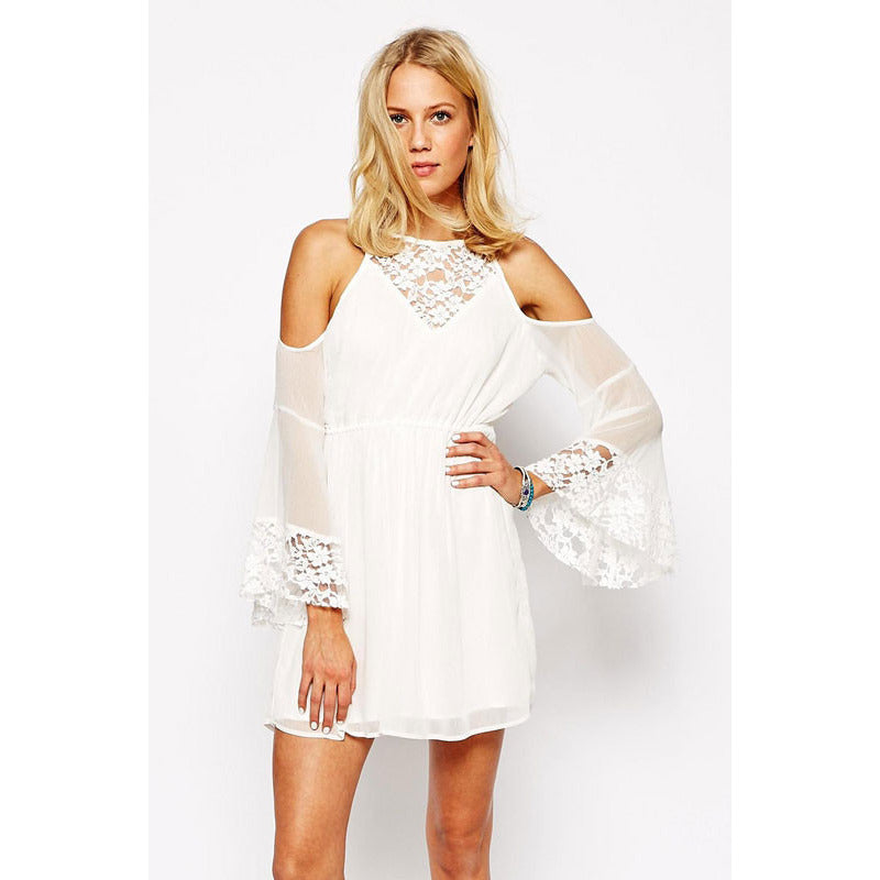 White Lace Chiffon Dress LAVELIQ - LAVELIQ - 1