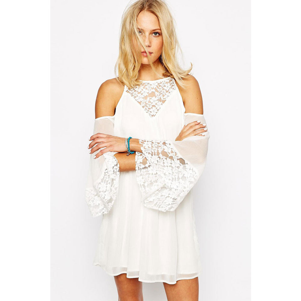 White Lace Chiffon Dress LAVELIQ - LAVELIQ - 2