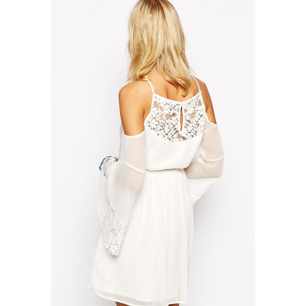 White Lace Chiffon Dress LAVELIQ - LAVELIQ - 3