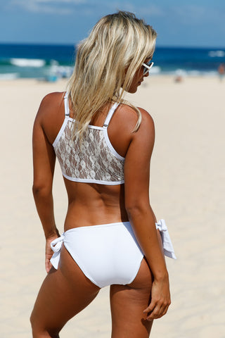 White Lace High Neck Tankini LAVELIQ