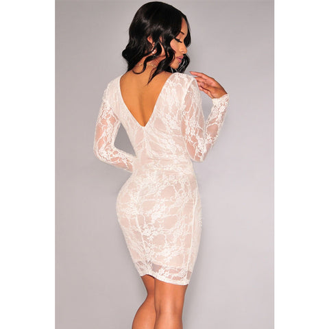 White Lace Nude Illusion Ruched Long Sleeves Dress Sale LAVELIQ