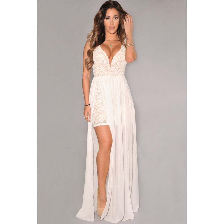 White Lace Neck Slit Maxi Gown LAVELIQ - LAVELIQ - 1