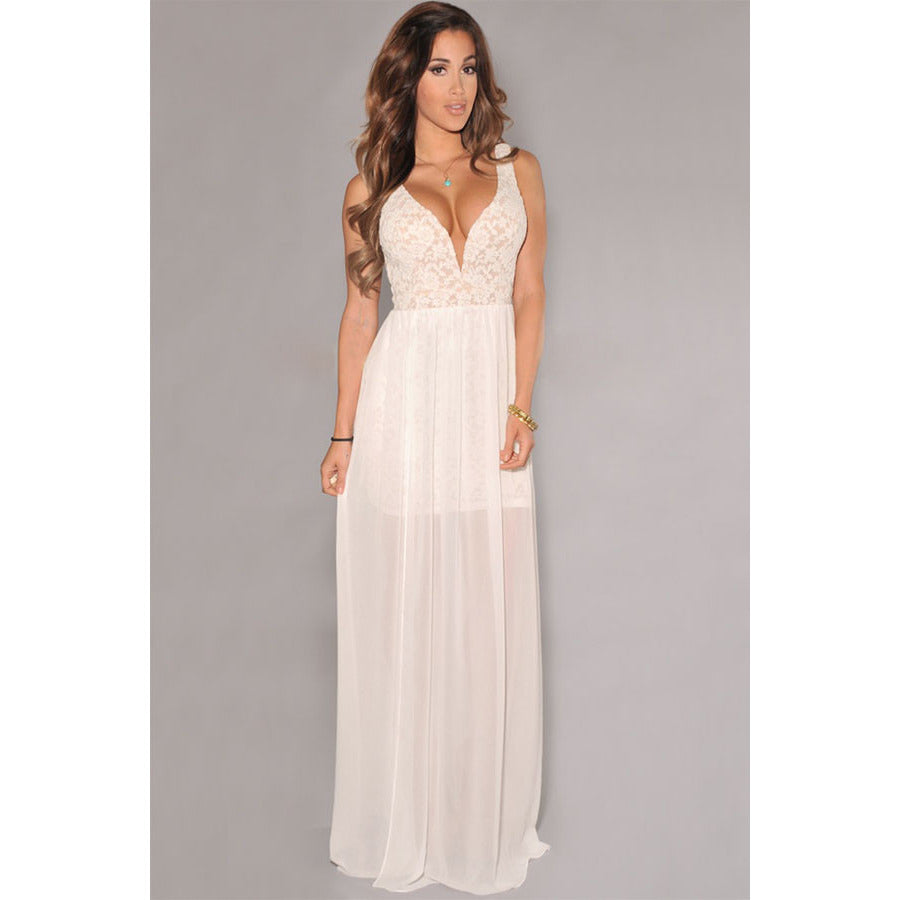 White Lace Neck Slit Maxi Gown LAVELIQ - LAVELIQ - 2