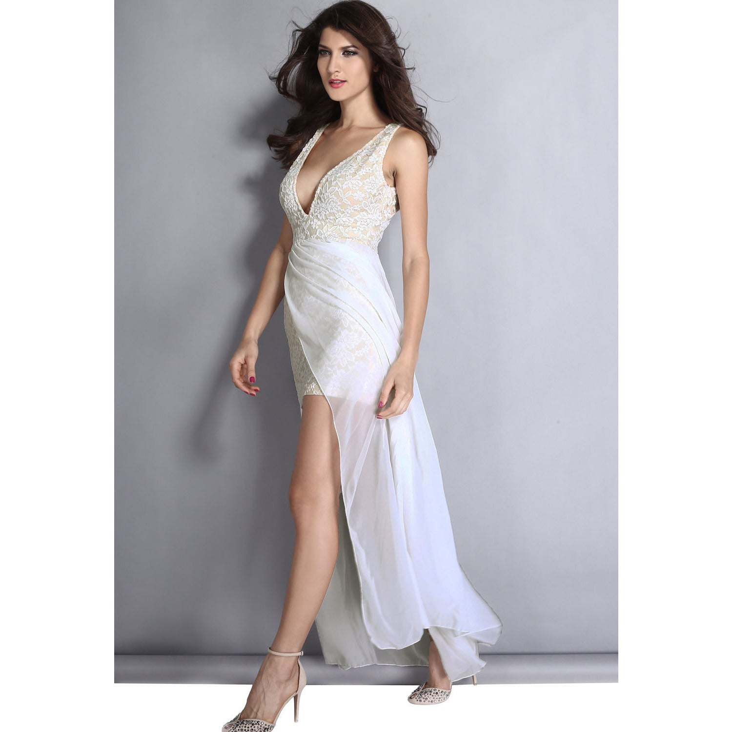 White Lace Neck Slit Maxi Gown LAVELIQ - LAVELIQ - 5