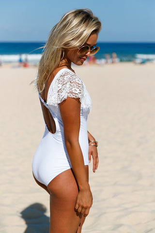 White Lace Ruffle Cap Sleeve One Piece Swimsuit LAVELIQ