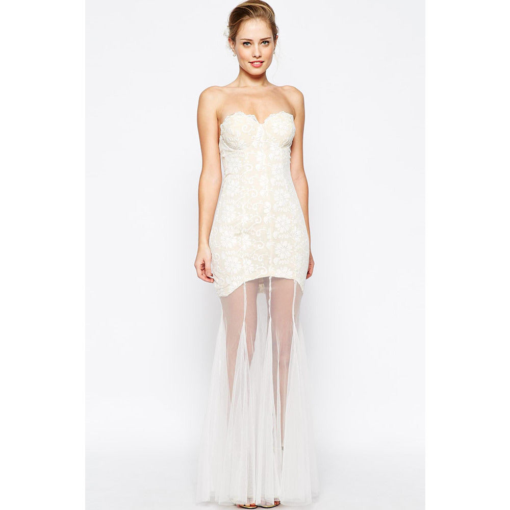 White Lace Sheer Maxi Dress LAVELIQ - LAVELIQ - 1