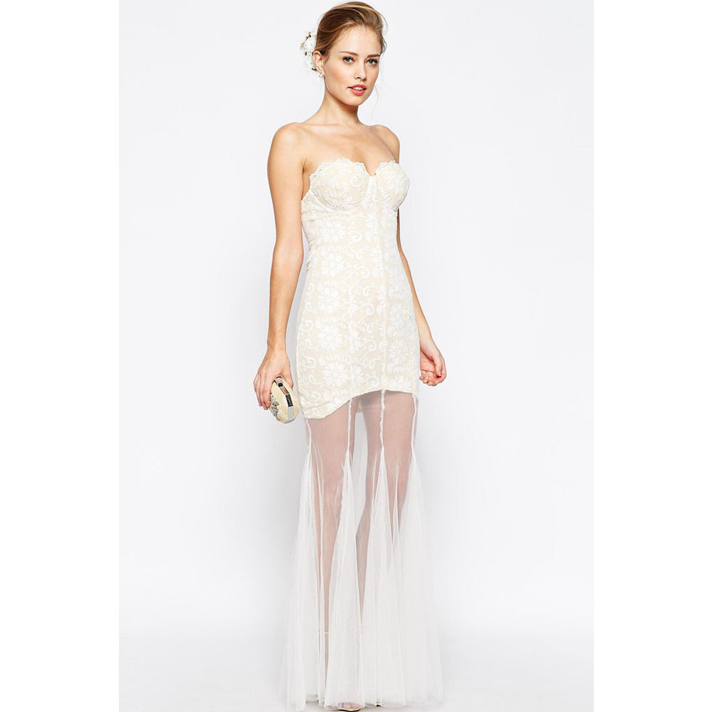 White Lace Sheer Maxi Dress LAVELIQ - LAVELIQ - 2