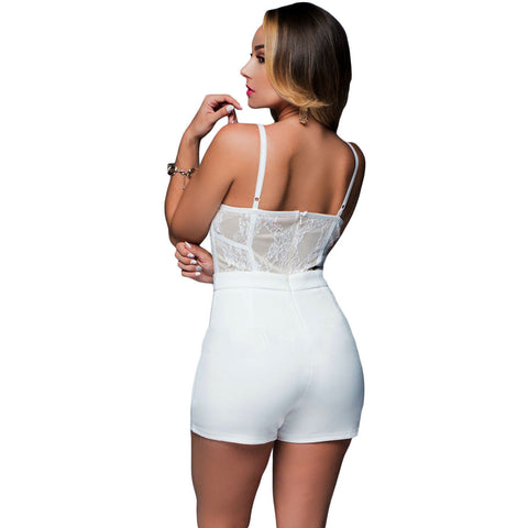 White Lace Trim Slim Fitted Nightclub Playsuit LAVELIQ