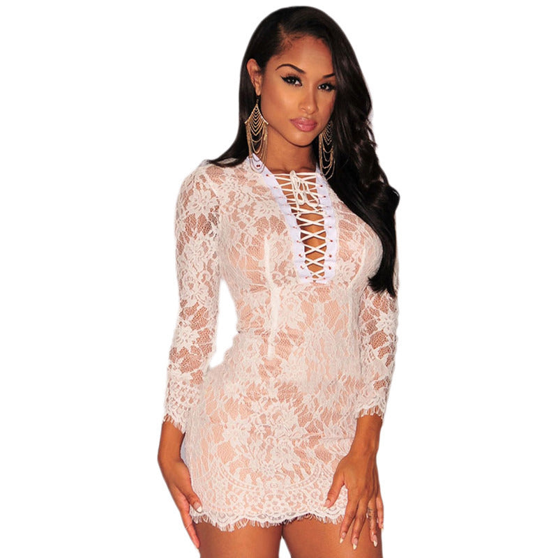 White Lace Up Nude Mini Dress LAVELIQ - LAVELIQ - 1