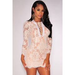 White Lace Up Nude Mini Dress LAVELIQ - LAVELIQ - 3