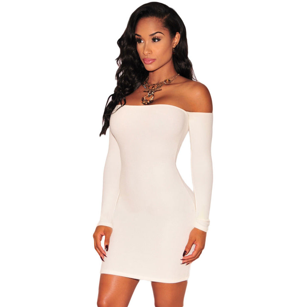White Off-Shoulder Long Sleeves Dress Sale LAVELIQ - LAVELIQ - 1