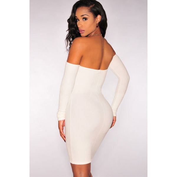 White Off-Shoulder Long Sleeves Dress Sale LAVELIQ - LAVELIQ - 2