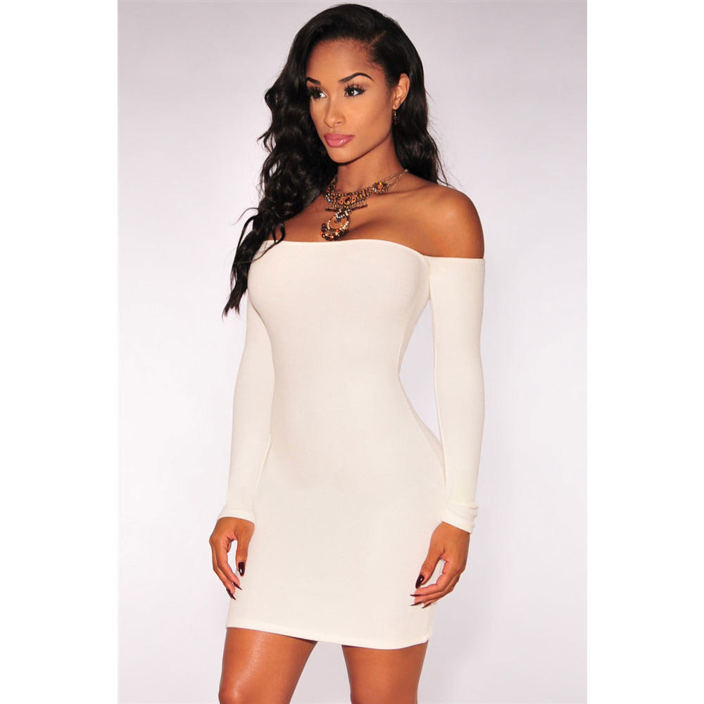 White Off-Shoulder Long Sleeves Dress Sale LAVELIQ - LAVELIQ - 3