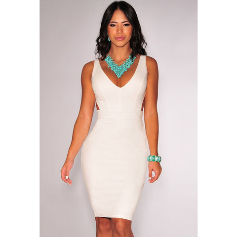 White Open Back Midi Dress Sale LAVELIQ