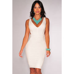 White Open Back Midi Dress Sale LAVELIQ - LAVELIQ - 1