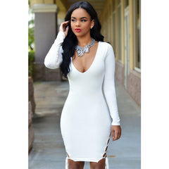 White Sexy V Neck Bodycon Dress LAVELIQ - LAVELIQ - 2