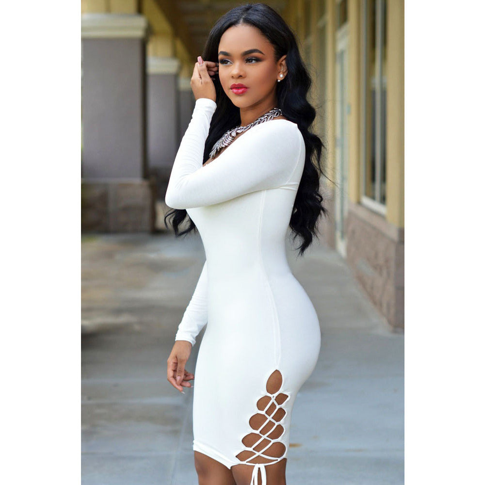 White Sexy V Neck Bodycon Dress LAVELIQ - LAVELIQ - 3