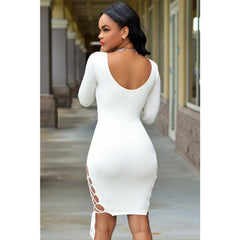 White Sexy V Neck Bodycon Dress LAVELIQ - LAVELIQ - 4
