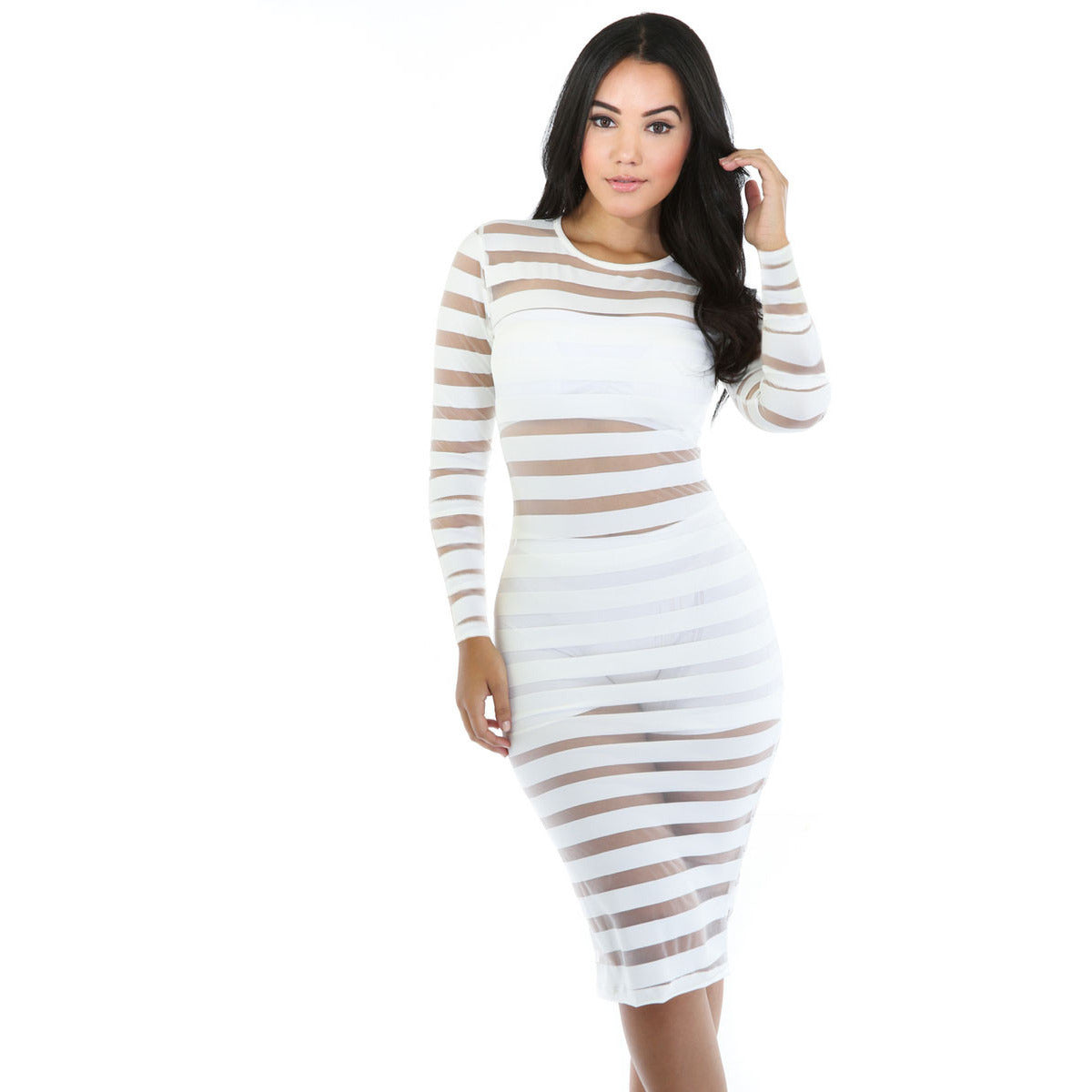 White Sleeve Bdycon Midi Dress LAVELIQ - LAVELIQ - 1