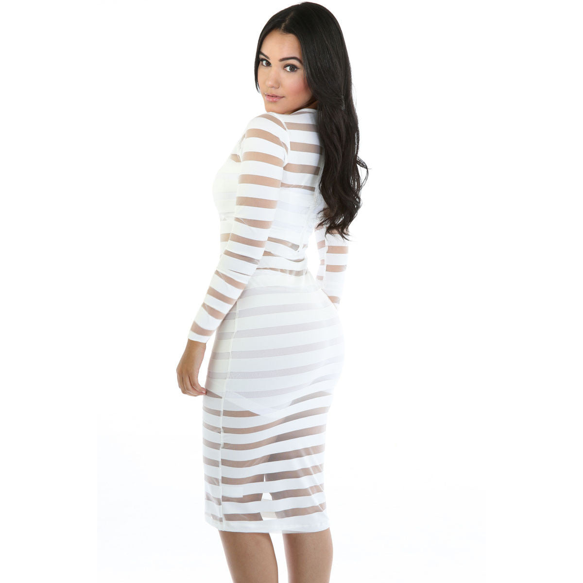 White Sleeve Bdycon Midi Dress LAVELIQ - LAVELIQ - 2