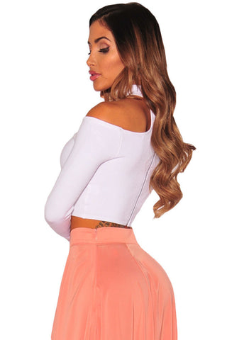 White Sleeved Off Shoulder Choker Crop Top LAVELIQ