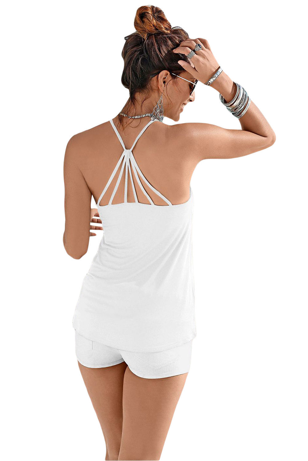 White Strappy Back Detail Summer Top LAVELIQ