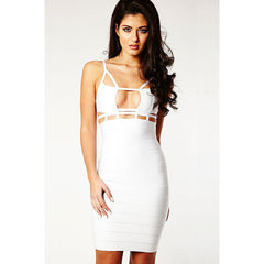 White Tightfitting Knee Length Bandage Dress LAVELIQ  - LAVELIQ - 1