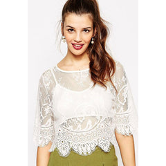 White Two-Piece Lace Crop Top LAVELIQ - LAVELIQ - 1