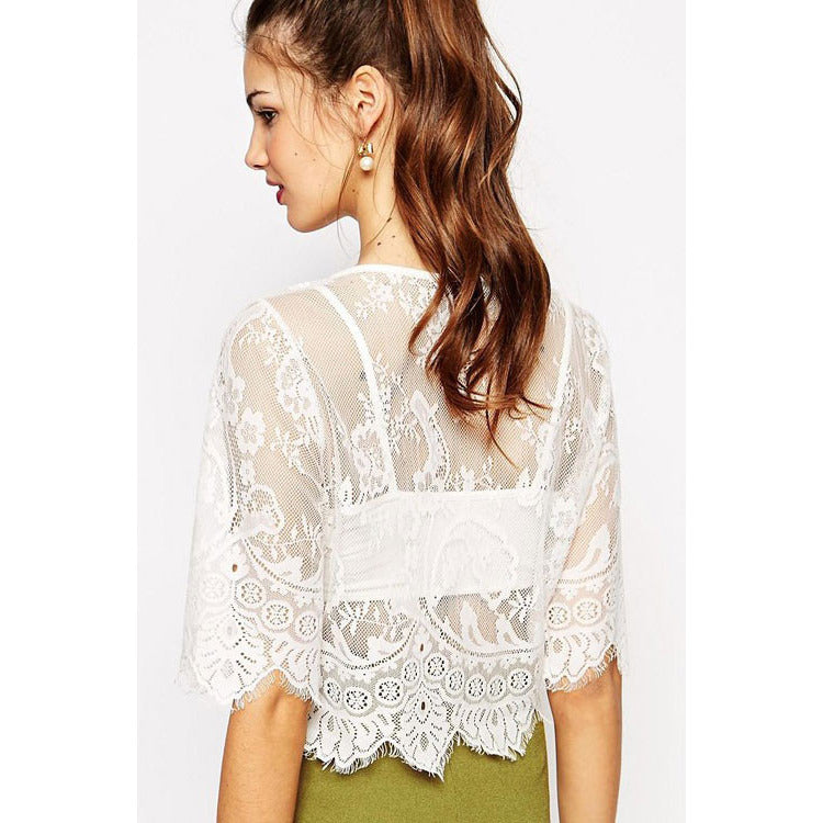 White Two-Piece Lace Crop Top LAVELIQ - LAVELIQ - 2