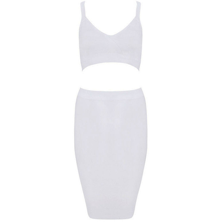 White Two-Piece Strap Cropped Top Skirt Set LAVELIQ - LAVELIQ - 4