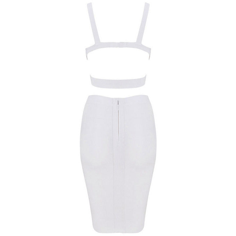 White Two-Piece Strap Cropped Top Skirt Set LAVELIQ - LAVELIQ - 5