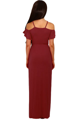 Wine Cold Shoulder Long Jersey Dress LAVELIQ